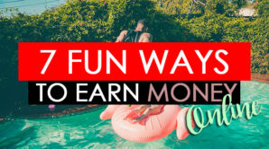 A guy is jumping into the pool and title reads 7 fun ways to earn money online