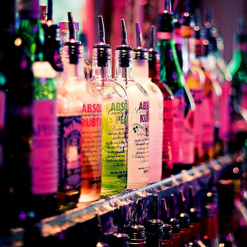 bottles of alcohol lined in a row