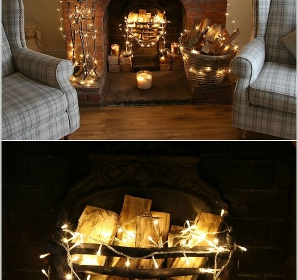 new years fairy lights around the fire place
