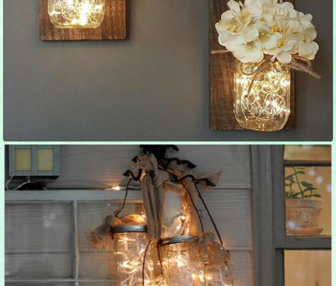 more new year decorations using fairy lights and mason jars