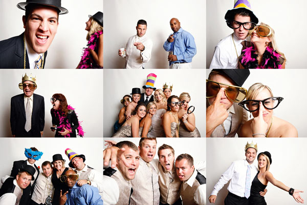montage of party people in a photo booth