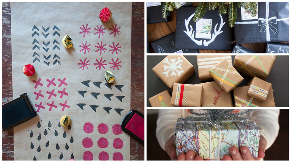 montage GIY gift wrapping idea