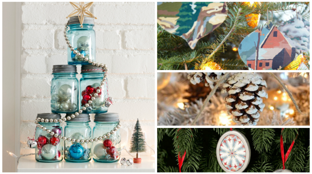 montage of DIY christmas ornaments
