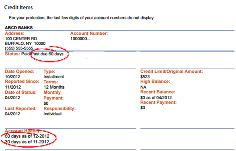 credit report with past due items circled