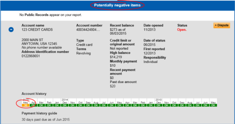 Experian report sample with late payments and potentially negative items highlighted
