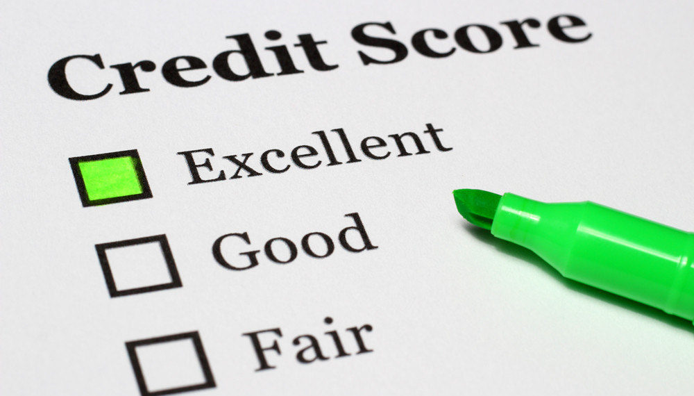 paper showing credit score and three ratings: excellent, good and fair. With Excellent being highlighted