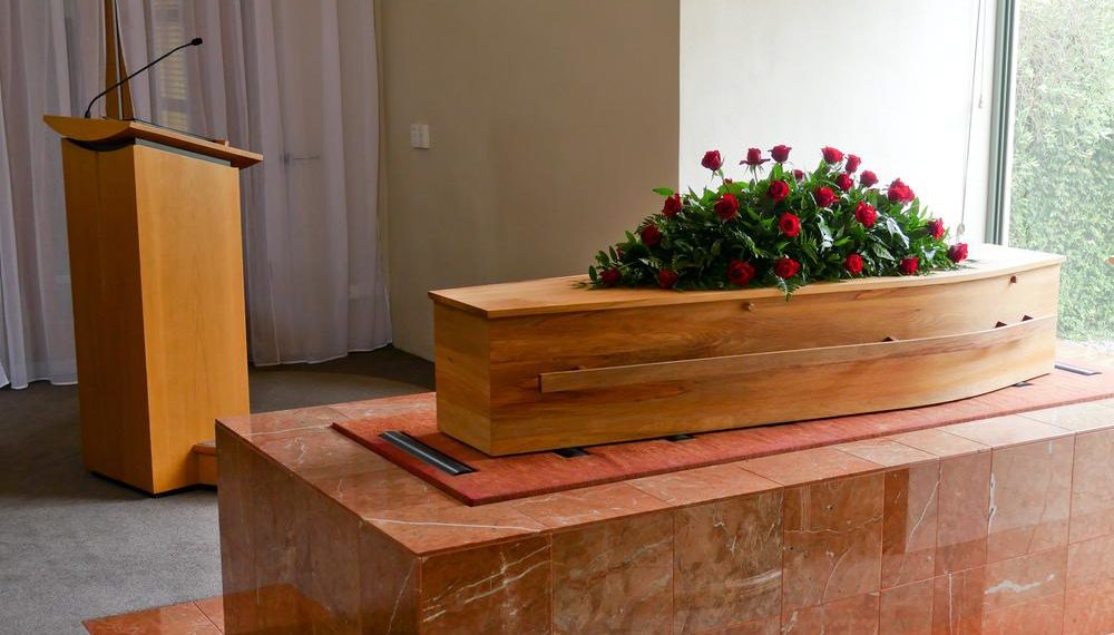 coffin before send off